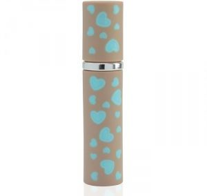 REFILLABLE PASTEL BLUE, AND PALE BROWN HEART PRINT PERFUME SPRAY. LIPSTICK SHAPE ATOMIZER. PURSE SIZE. K-PP / 12 ML