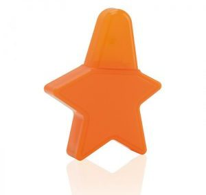 REFILLABLE PLASTIC PERFUME SPRAY. ORANGE COLOR STAR SHAPED. TRAVEL SIZE. PURSE SIZE ATOMIZER. AT224 / 15 ML