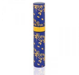 REFILLABLE COBALT BLUE AND GOLDEN FLOWER PRINT ALUMINUM SPRAY. LIPSTICK SHAPE ATOMIZER. PURSE SIZE. S-1 / 3 ML
