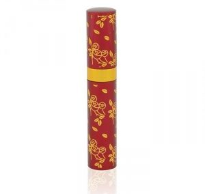 REFILLABLE RED AND GOLDEN FLOWER PRINT ALUMINUM SPRAY. LIPSTICK SHAPE ATOMIZER. PURSE SIZE. S-1 / 3 ML