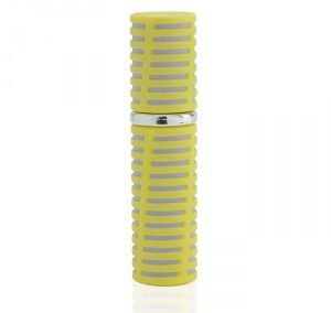 REFILLABLE GREY AND YELLOW SPIRAL PRINT PLASTIC PERFUME SPRAY. LIPSTICK SHAPE ATOMIZER. PURSE SIZE. Y-PP / 5 ML