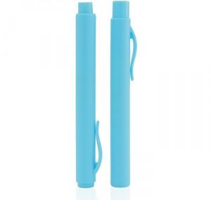 TURQUOISE BLUE PEN SHAPE PERFUME SPRAY. PLASTIC. PURSE SIZE ATOMIZER. AT241 / 6 ML