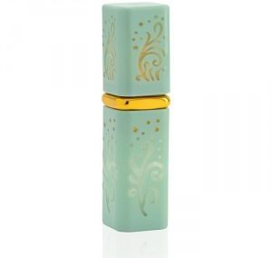 REFILLABLE GREEN AQUA AND GOLD PERFUME SPRAY. SQUARE LIPSTICK SHAPE ATOMIZER. PURSE SIZE. H-PP / 5 ML