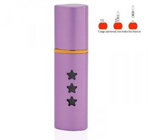 REFILLABLE CYLINDRICAL LIGHT PURPLE ALUMINUM PERFUME SPRAY. PURSE ATOMIZER. STAR DETAILS / 15 ML