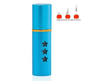REFILLABLE CYLINDRICAL DEEP TURQUOISE BLUE ALUMINUM PERFUME SPRAY. PURSE  SIZE ATOMIZER. STAR DETAILS / 15 ML